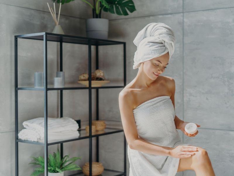 Body moisturiser in the bathroom